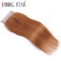 Brazilian Middle Part Closure Straight 4 4 Swiss Lace Human Hair Extensions Full Color 30 10