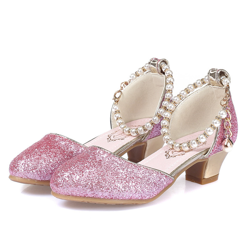 ULKNN Girls Sandals 2020 New Pearl Shoes Children's High Heels Student Dance Shoes Performance Shoes Size 28-38 Pink White