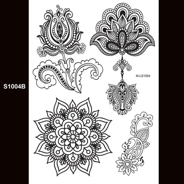 571b8e3626b02 1pc body painting white black henna tattoo fake new lace flash Arabic Indian  rose butterfly wedding