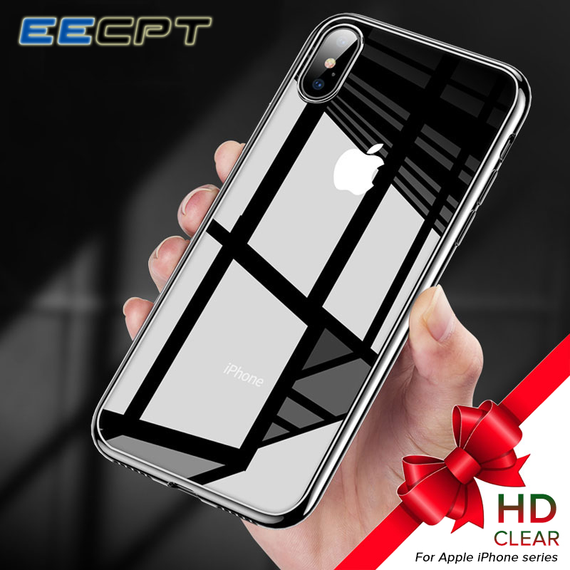EECPT Silicone Soft Phone Case for iPhone X 8 7 6S 6 S SE 5S Clear Transparent TPU Silicon Case Coque for iPhone XS Max XR Cover image