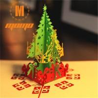 10pcs/set Merry Christmas Day 3D Pop up Greeting Card Postcard Matching Envelope Laser Cut Handmade Post Card