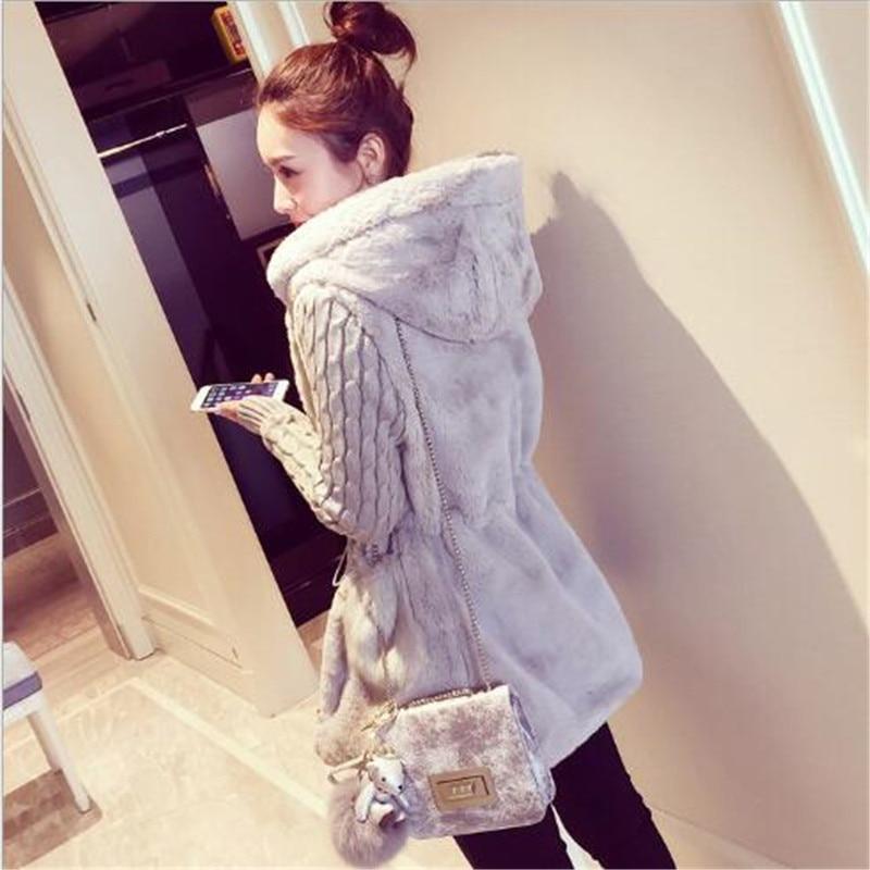 Autumn Stitching Fashion Women S Hooded Long Knitted Hoodies Cardigan Coat Imitation Rabbit Fur Thick Sweater Jacket Outwear