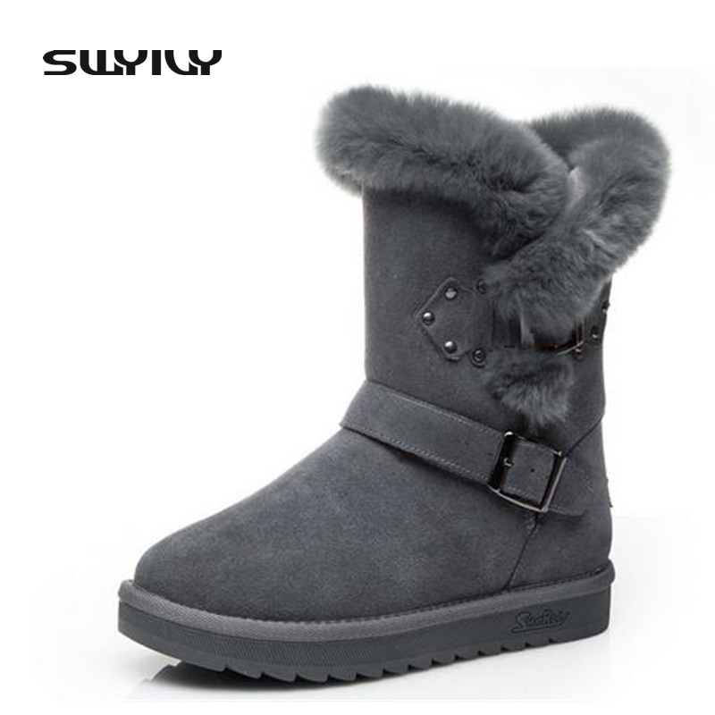Cow Leather Fashion Metal Decoration Women Mid-Calf Winter Boots Plush Warm in Winter Female Snow Boots Buckle Strap Shoes 2017 black women boots sheepskin winter warm plush female boots mid calf genuine leather women shoes