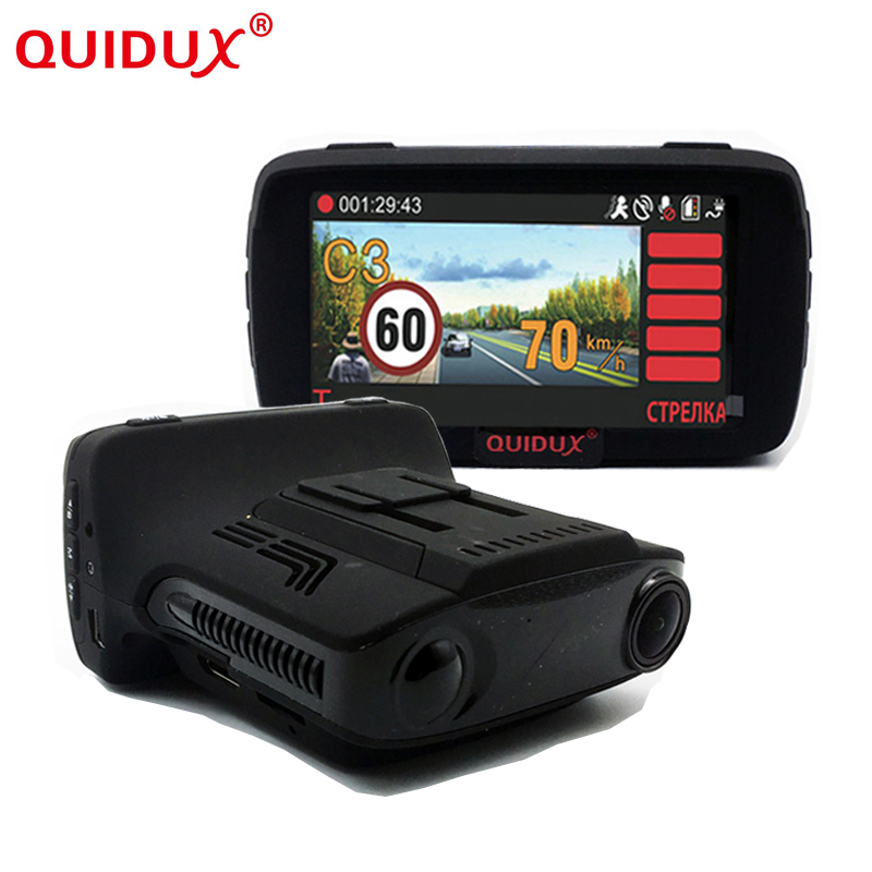 QUIDUX Russian 3in1 Car Camera DVR GPS Ambarella A7 Car 2.7 Inch Screen display Speed Radar Detector Fixed and flow Velocity