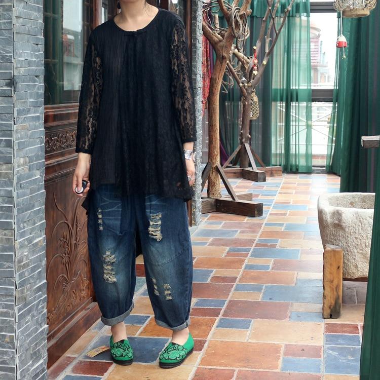 Texture Dentelle T Casual Peau Pur Noir Conception Printemps shirts Chemise Patchwork Ramie Et Originale D660 T 2018 Rétro Automne Femmes q87twn0