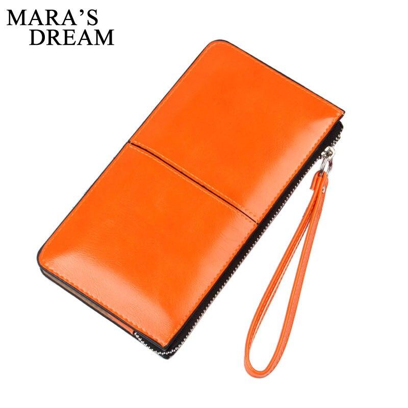 Mara's Dream Women Wallets Candy Oil Leather Wallet Long Design Day Clutch Casual Lady Cash Purse Women Hand Bag Carteira