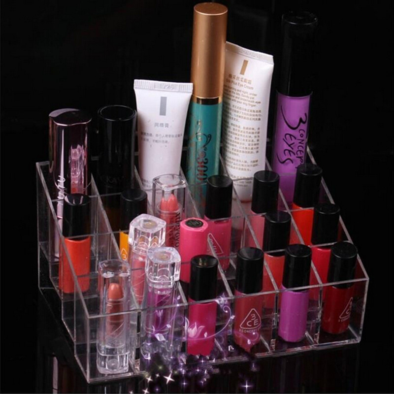 24 Lattice Clear Transparent Jewelry Display Tool Stand Holder Makeup Lipstick Cosmetic Storage 14.5*10.5*7.5cm 670148