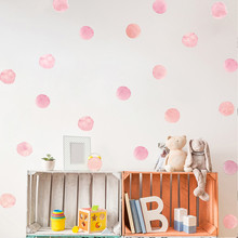 36pcs=1sets Dot Watercolor Wall Sticker Color Circle Decal Children Room Removable Decorative Stickers For Kids Bedroom