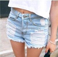 2014 donne vita alta strappato distressed vintage retro cutoffs hotpants denim pantaloncino corto jeans per le signore donne