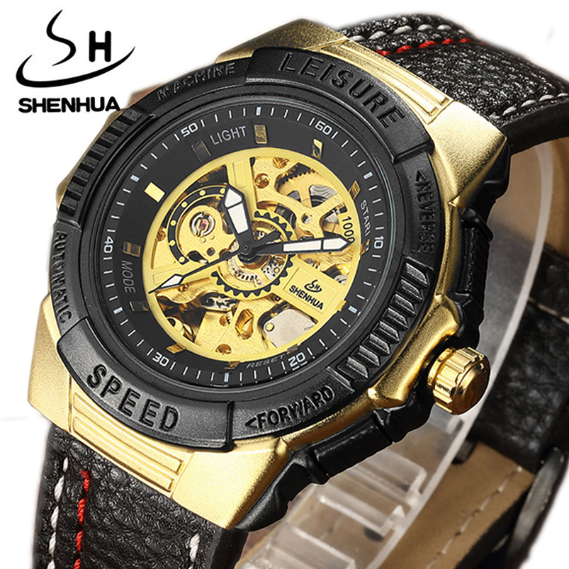 Brand SHENHUA Mechanical Watch Mens Military Sports Speed Leather Automatic Men Mechanical Watches male clock gifts relojes