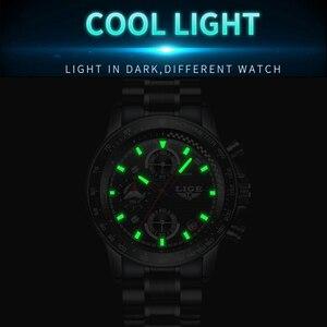 Image 4 - Lige relógio esportivo luxuoso de quartzo, masculino totalmente em aço à prova dágua preto