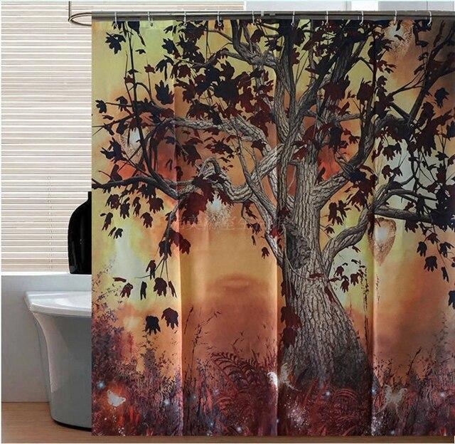Cartoon Forest Fairy Tree Polyester Waterproof Mildew Bath Shower Curtain 180 180cm 7086