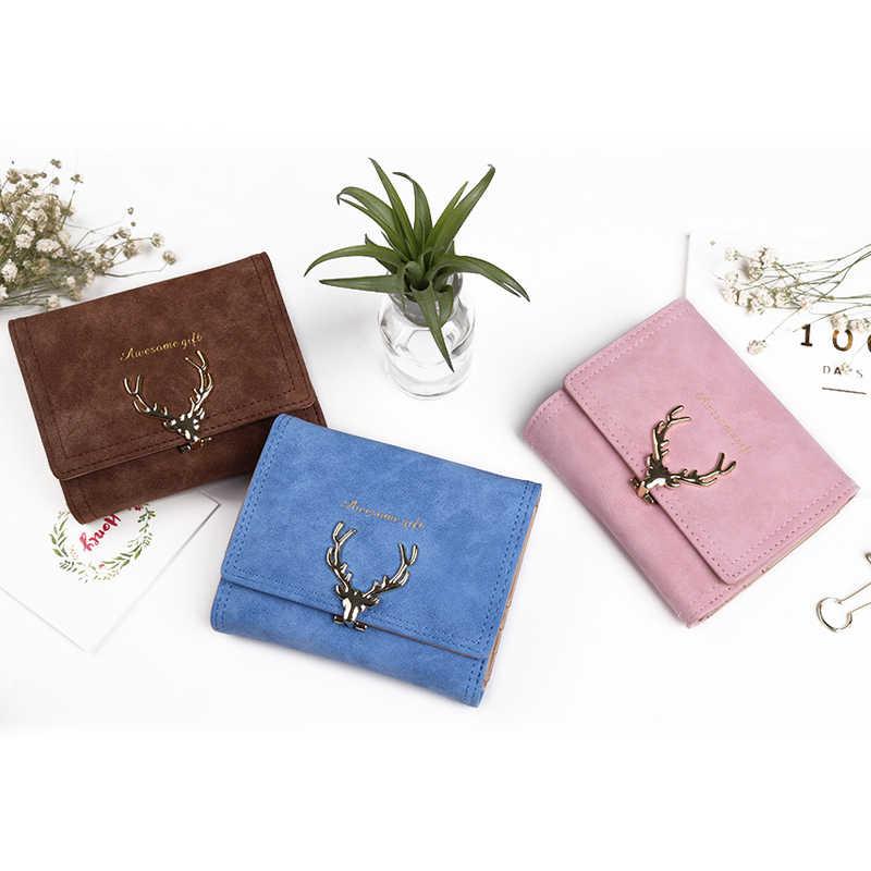 2018 mais recente natal veados mulher carteira de couro vintagetri-dobras luxo bolsa de dinheiro menina pequena embreagem preta moeda bolsas suportes