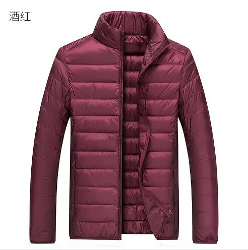 Men   Down     Coat   2019 New Winter Solid Stand Collar Ultra Light   Down     Coat   Men Outdoor Fashion Casual Slim Fit Warm   Down   Jacket