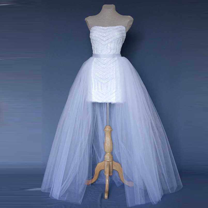 חדש לעטוף לבן טול חצאיות טוטו ארוך כלה זול חצאית Saia Longa נשי נשים רצועת כלים אבנט מקיר לקיר אורך מותאם אישית עשה