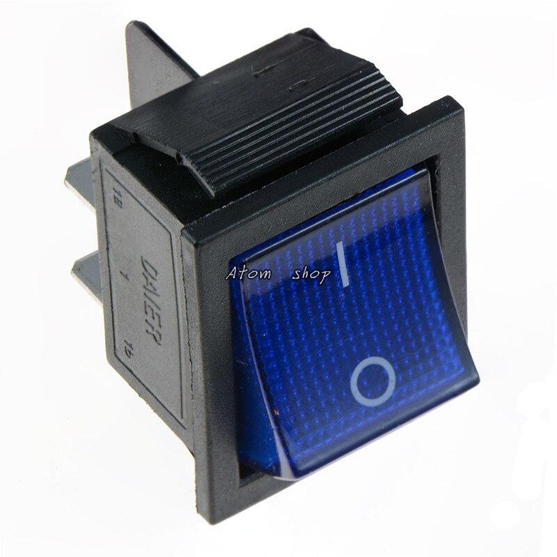 KCD4 1 шт. с подсветкой большой ВКЛ-ВЫКЛ 4-контактный кулисный переключатель-красные, синие зеленый желтый 20A 125VAC 16A 250VAC - Цвет: Синий