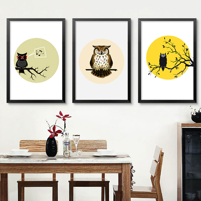 Cute Owl Cuadros Decoracion Canvas Painting Wall Art Canvas Oil Painting  Poster Wall Pictures For Living Part 44