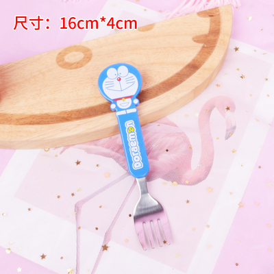 10 шт мультфильм Doraemon Губка Боб Ложка Вилка лучший подарок для детей - Цвет: blue fork