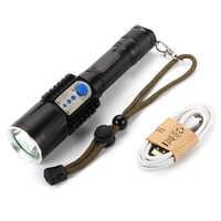 Nouveau 3800 Lumen XM-L L2 LED USB lampe torche Rechargeable lampe torche 18650 extérieur résistant à l'eau torche tactique
