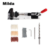 Milda Woodworking Carpenter Kit System Inclined Hole Drill Tools Clamp Base Drill Bit Kit System Pocket