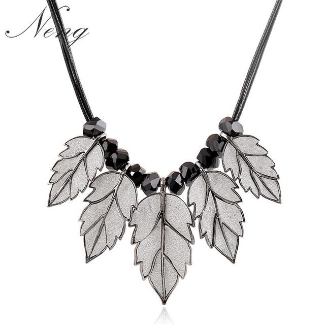 Collares de las mujeres za 2017 esteras hojas declaración collar de cuero de plata cadenas borla maxi colar colgantes choker collar n1199