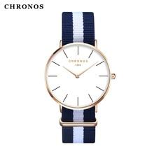 CHRONOS 1989 Marca Hombres Mujeres Moda Casual Sport Reloj Clásica Nylon Masculino Relojes de pulsera de Cuarzo Relojes Mujer Montre Femme