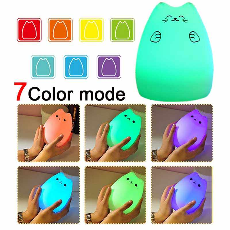 Hand pat kitten Colorful Silicone LED Night Light 7 Colors USB Rechargeable lamp Soft Touch Sensor Bedroom Accompany Flashlight