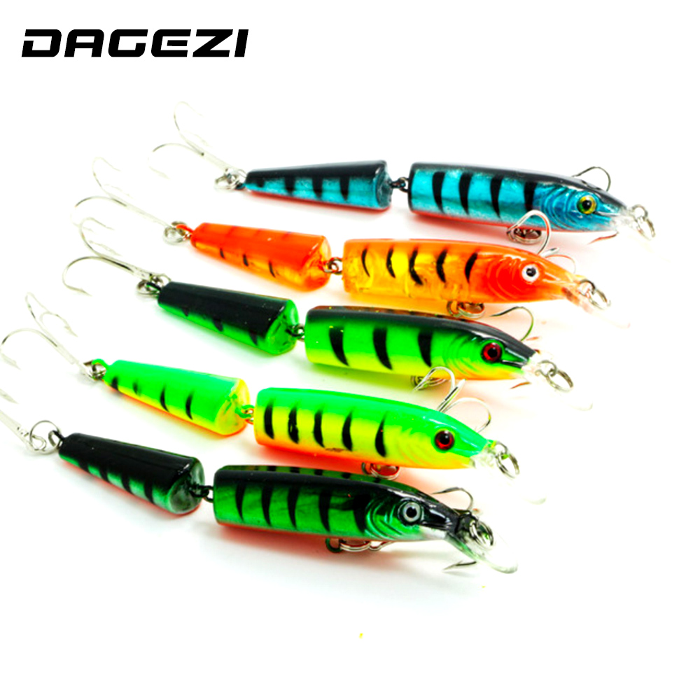 DAGEZI 3D Eyes Lifelike Fishing Lure 10.5cm/14g/pcs Floating Lures Hard Bait 5pcs/lot Multi-corlors 2 Sections Fishing Tackle lifelike earthworm style fishing baits 5 pcs