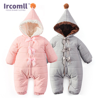 Ircomll Baby Winter Romper Inner Suede Hooded Warm Soft Baby Pajamas For Boys Girls Overalls