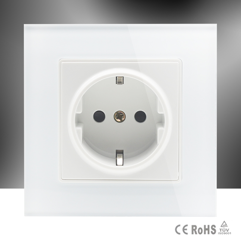Cnskou EU Standard Power Socket, AC 110~250V 16A Wall Power Socket Outlet, White Color Tempered Crystal Glass Panel,Manufacturer factory wholesale 2pcs copper plated hifi ac power bar trip us socket receptacle wall outlet