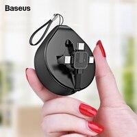 Выдвижной usb-кабель Baseus для iPhone XS Max XR X 8, шнур для зарядки данных, 3 в 1, кабель Micro USB, кабель USB type C, адаптер