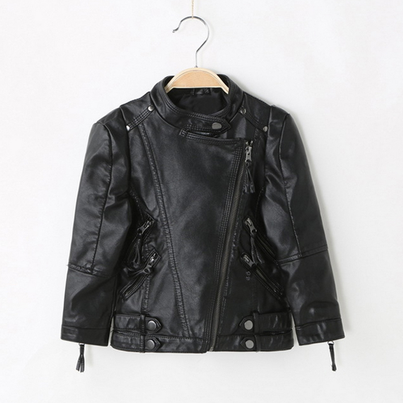 Children PU Leather Jacket Boys Autumn Leather Coat kids Spring Jacket Children Solid Casual Outerwear 3-12y fur jacket pu leather and corduroy spliced zip up down jacket