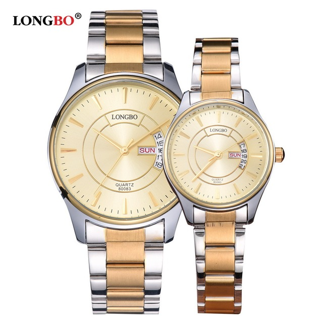 LONGBO Homens Marca De Luxo Relógios Das Mulheres À Prova D' Água Amantes Casal de Ouro de Aço Inoxidável Relógio de Pulso de Quartzo Relogio masculino 80083