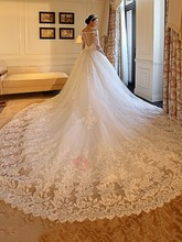 New Long Sleeves Lace Wedding Dress 2019 Plus Size Modest Appliques Off The Shoulder Bride Dresses Weding Gowns robe de mariage plus size sexy off the shoulder boat neck wedding dress long sleeves appliques lace wedding gowns boho bride dress
