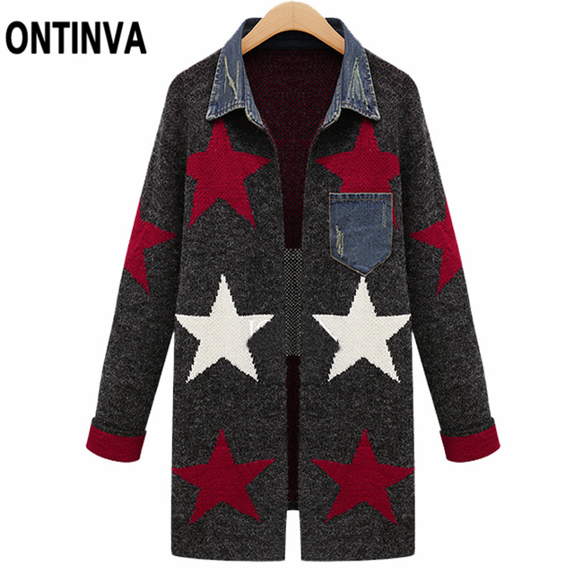 11c64e0a6a Winter Thick Cardigan Outwear with Denim Patchwork Sweater S M XL Geometric Knitwear  Tops Ladies Sueter Mujer Chaqueta Mujer