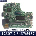 KEFU 12307-2 Laptop motherboard for DELL 3437 5437 Test original mainboard I7 CPU GT750M
