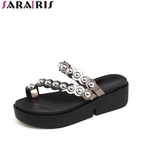 SARAIRIS Summer Sweet Punk Stylish Slippers Thick Platform Outside Leisure Flip Flops Wedges Women Shoes Size