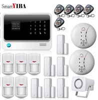 SmartYIBA WIFI Home House Safety Security Alarms PIR Detector Door Open Reminder Alarm Smoke Fire Detector Wired Siren Alert