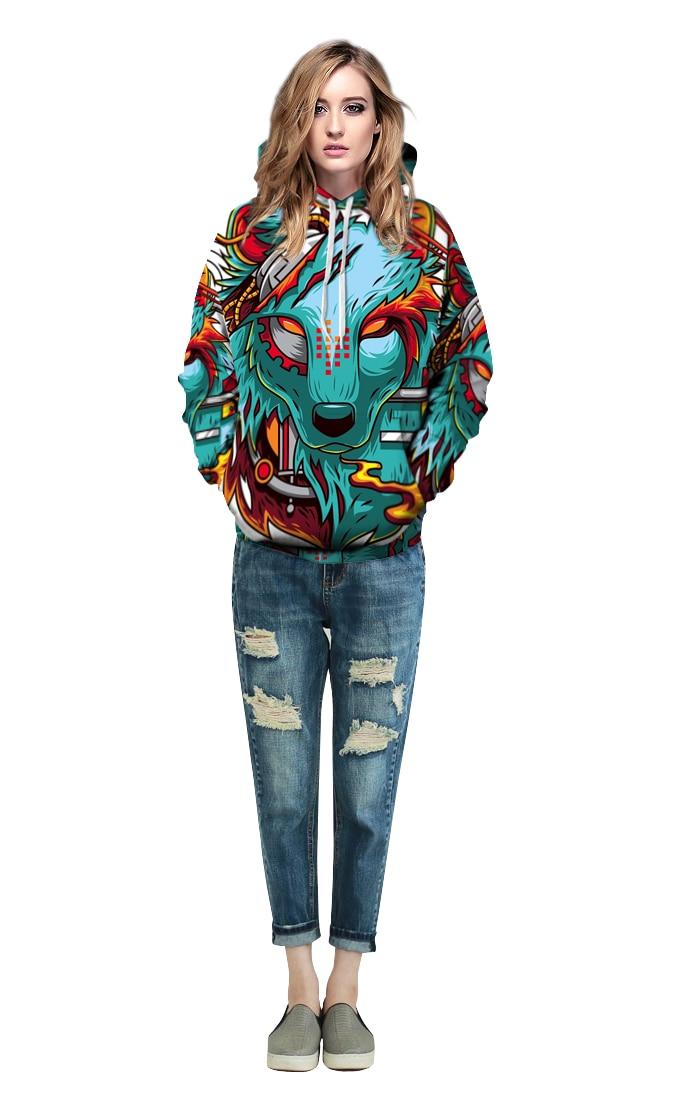 Tapa Nuevo Mujeres Sudaderas Impresión La Con Casual Diseño Lobo Hombres De Capucha Manera Los 3d Invierno Delgada Tops Otoño rxYrFq