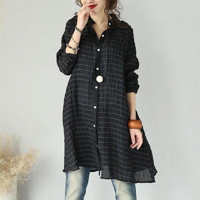 0c6d61d85961e New 2018 Women Blouse Long Sleeve Lapel Neck Button Down Striped Irregular  Hem Cotton Linen Shirt Top Autumn Casual Baggy Blusas