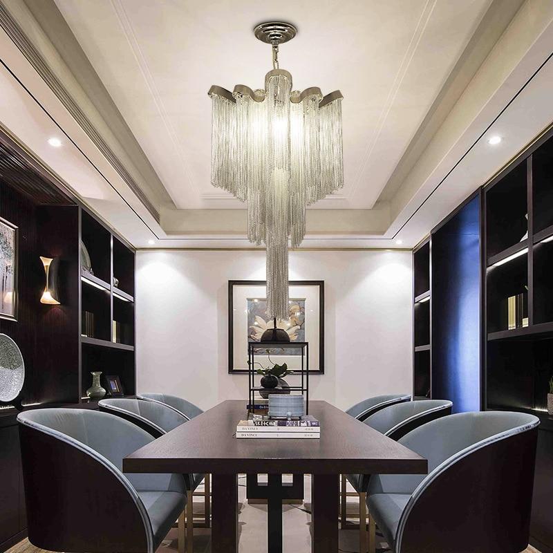 Современная Серебряная Люстра с алюминиевой цепочкой и кисточкой для гостиной, столовой, домашнего декора