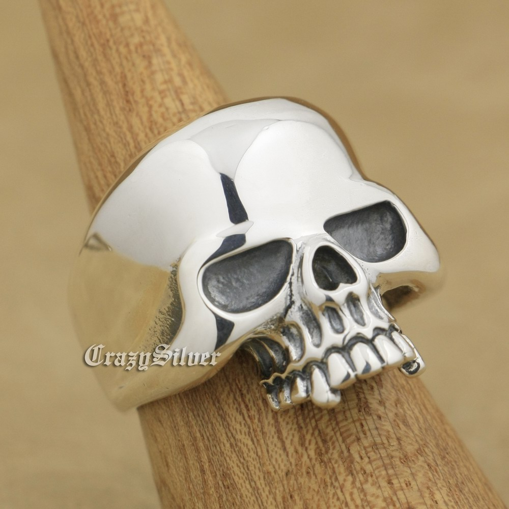 925 Sterling Silver Huge Skull Mens Biker Rocker Punk Ring 9W025 US Size 8 ~ 14 r003 skull shaped titanium steel ring black silver us size 8