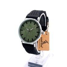BOBOBIRD Marca B20 Clásico de Metal Unisex Relojes Casual Caja de Acero Inoxidable Banda de Silicona Y el Dial de Reloj de Cuarzo De Madera Verde