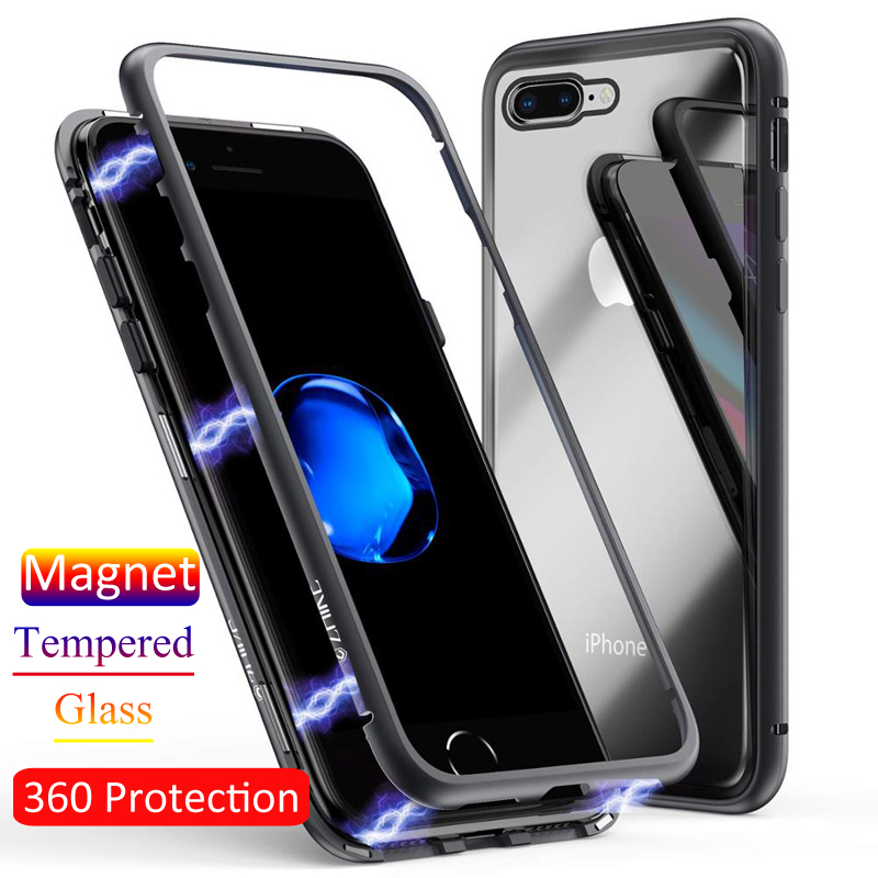 GTWIN Magnetic Tempered Glass font b Case b font For font b Iphone b font X