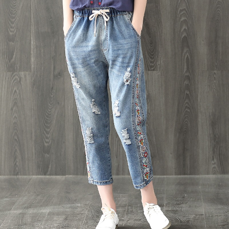Women Summer Loose Large size Jeans 2017 High Quality Embroidery Ripped Denim Trousers Fashion Elastic Waist