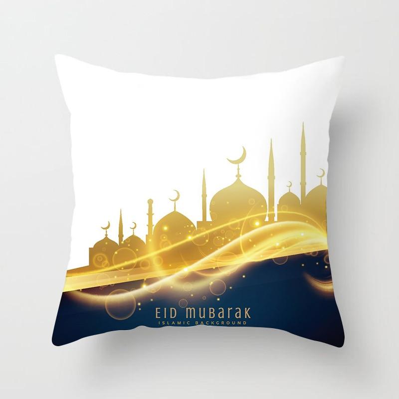 1PC Islamic Eid Mubarak Decorations for Home Pillowcase Ramadan Decor Sofa Cotton Muslim Mosque Decorative Cushion Cover 45X45CM
