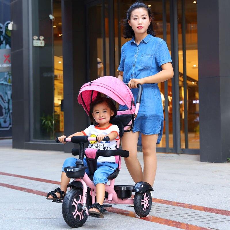 Siège pivotant bébé Tricycle vélo enfant vélo poussette 2 en 1 trois roues bébé chariot Portable enfant chariot landau Trike 6M-6Y - 2