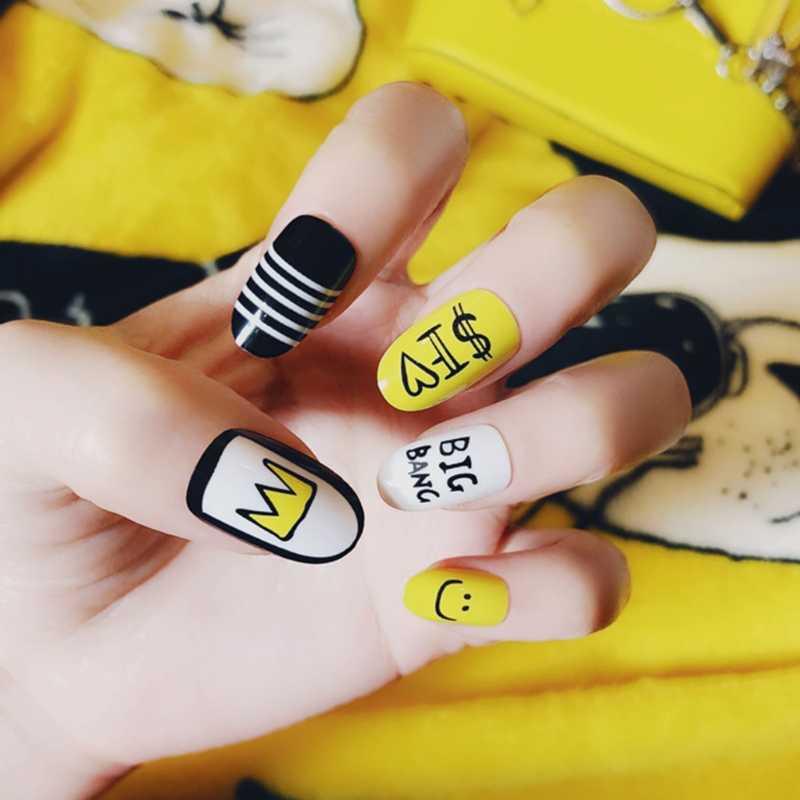 24pcs/Pack Cute Multicolor French False Nails Nail Art Yellow Funny Design Nail Tips S12