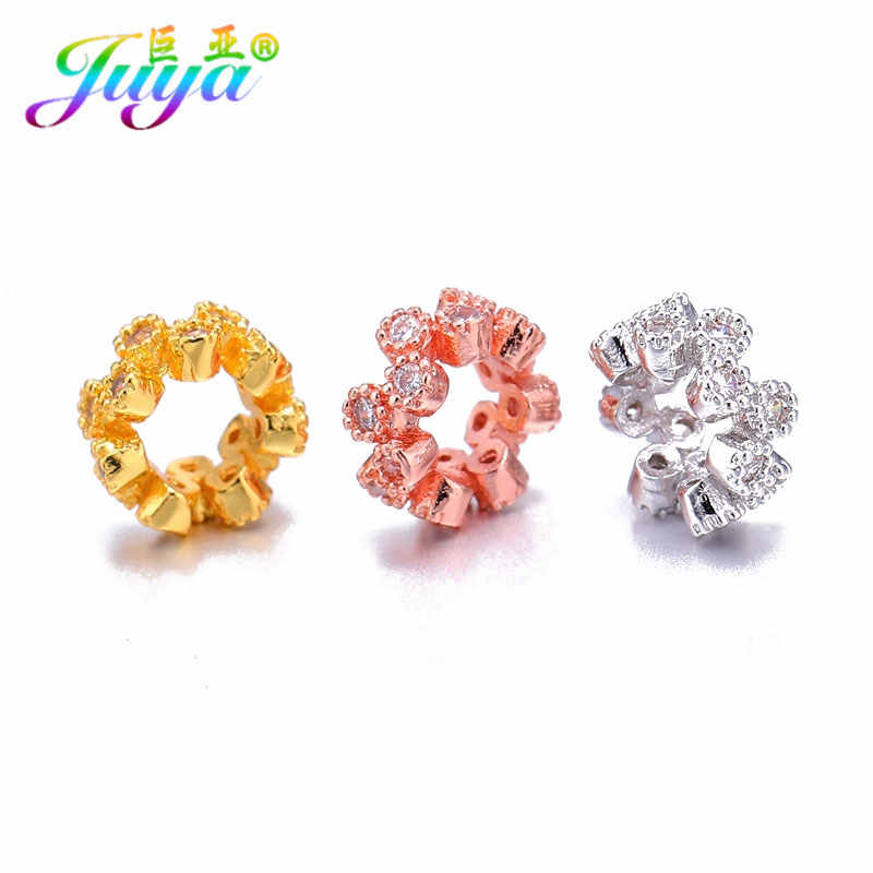 Beading Jewelry Findings Gold/Silver/Rose Gold Flower Charm Spacer Beads Accessories For Women Beadwork Jewelry Making