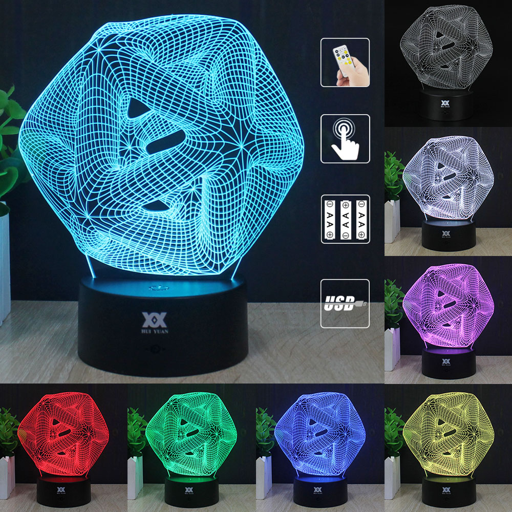LED Abstract Graphic 3D Lamp Acrylic illusion Atmosphere Night Light Novelty USB Desktop Decorative Table Lamp HUI YUAN Brand